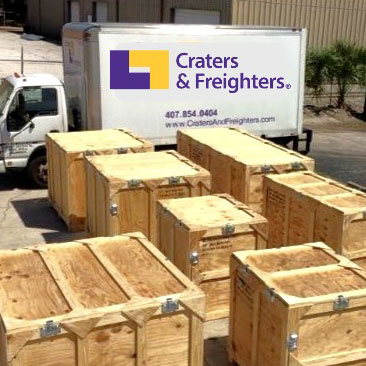 wood crates and delivery truck